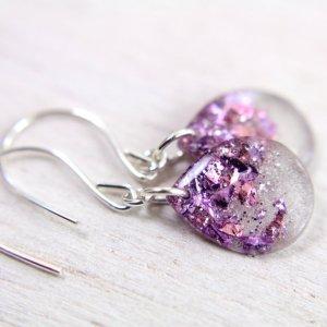 tinygalaxygreyteardrop earrings